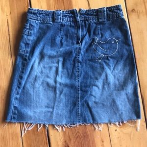 Other - Denim skirt with bird embroidery